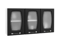 Armário de Cozinha Telasul Novitá de Aço c/ 3 Portas de Vidro 105cm - Cor Branco c/ Preto
