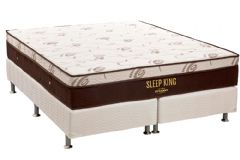 Conjunto Cama Box - Colchão Ortobom de Molas Pocket Sleep King Látex + Cama Box Universal Tecido White -