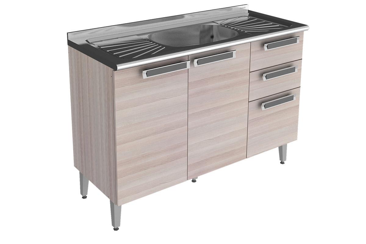 Gabinete (Balcão) de Cozinha Itatiaia Jazz IG3G2 120 Madeira Triplo c  #755F56 1200 800