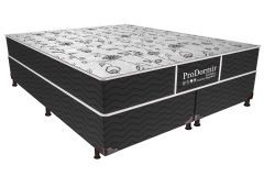 Conjunto Cama Box - Colchão Probel de Molas Bonnel ProDormir Sleep Black + Box Universal Nobuck Nero Black - Colchão Probel