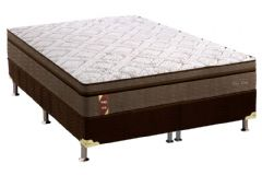 Conjunto Cama Box - Colchão Probel New Visco Guarda Costas + Box Universal Nobuck Rosolare Café -