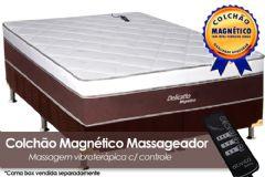 Colchão Magnético Infravermelho Longo c/  Massageador Delicatto de Molas Pocket EuroPilow Branco/Marrom - Colchão Solteiro - 0,88x1,88x0,32 - Sem Cama Box