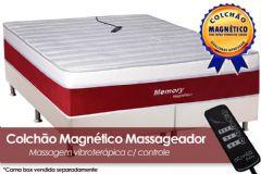 Colchão Magnético Infravermelho Longo c/  Massageador Memory Espuma Ortopédica EuroPilow Branco/Bordo - Colchão Solteiro - 0,88x1,88x0,32 - Sem Cama Box