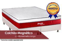 Colchão Magnético Infravermelho Longo Terapeutico Salute Espuma Ortopédica EuroPilow Branco/Bordô - Colchão Casal - 1,38x1,88x0,32 - Sem Cama Box