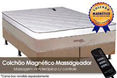 Colchão Magnético Infravermelho Longo c/  Massageador Delicatto de Molas Pocket EuroPilow Branco/Bege - Colchão Solteiro - 0,88x1,88x0,32 - Sem Cama Box