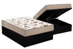Conjunto Baú Box - Colchão Ortobom Physical Mega Resistente  + Cama Box Baú Couríno Black -