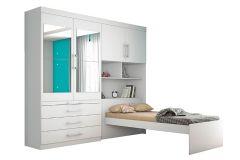 Guarda Roupa Solteiro Europa Lyon c/ Espelho + Cama + Escrivaninha + Baú 4 Portas e 3 Gavetas - Móveis Europa