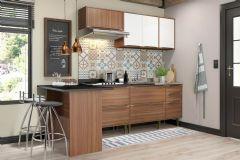 Cozinha Completa Multimóveis Calábria 5455 6 Peças (1 Ilha+ 2 Balcões + 2 Aéreos + Tampo) - Multimóveis