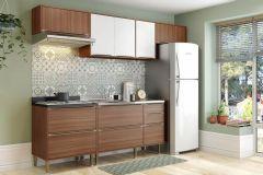 Cozinha Completa Multimóveis Calábria 5456 6 Peças (3 Aéreos + 2 Balcões + Tampo) - Multimóveis