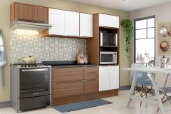 Cozinha Completa Multimóveis Calábria 5457 5 Peças (1 Paneleiro + 2 Aéreos + 1 Balcão + Tampo) - Multimóveis