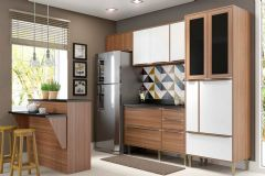 Cozinha Completa Multimóveis Calábria 5463 6 Peças (1 Ilha + 1 Paneleiro + 1 Balcão + 2 Aéreos + Tampo) - Multimóveis