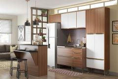 Cozinha Completa Multimóveis Calábria 5464 6 Peças (1 Ilha + 1 Paneleiro + 2 Aéreos + 1 Balcão + Tampo) - Multimóveis