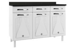 Gabinete (Balcão) de Cozinha Telasul Star New de Aço c/ 3 Portas e 3 Gavetas c/ Tampo 120cm - Cor Branco