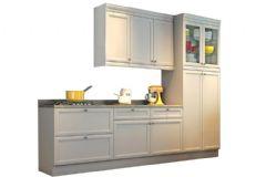 Cozinha Completa Nesher Americana de Madeira c/ 4 Peças (1 Paneleiro +1 Armário+2 Gabinetes) - Cozinhas Nesher