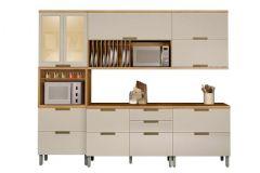 Cozinha Completa Nesher Duquesa de Madeira c/ 5 Peças (1 Paneleiro +2 Armários+2 Gabinetes) - Cozinhas Nesher