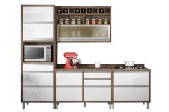 Cozinha Completa Nesher Baronesa de Madeira c/ 4 Peças (1 Paneleiro +1 Armário+2 Gabinetes) - Cozinhas Nesher