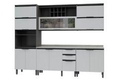 Cozinha Completa Thela/Telasul Hibisco de Madeira 5 Peças (Paneleiro + 2 Aéreos + 2 Gabinetes) - Cozinhas Telasul