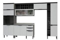 Cozinha Completa Thela/Telasul Hibisco de Madeira 5 Peças c/ USB(2 Paneleiros + 2 Aéreos + Gabinete) - Cozinhas Telasul