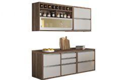 Cozinha Compacta Nesher Baronesa de Madeira 4 Peças (2 Aéreos + 2 Gabinetes) - Cozinhas Nesher