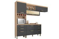 Cozinha Modulada Nesher Condessa de Madeira 3 Peças (Paneleiro + Aéreo + Gabinete) - Cozinhas Nesher