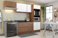 Cozinha Completa Compacta Multimóveis Calábria 5457 4 Peças (Paneleiro+2 Aéreos+Balcão) - Multimóveis