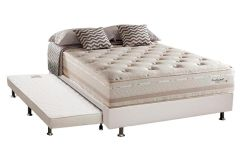 Conjunto 3 em 1 - (Cama Box + Cama Auxiliar Courino Bianco) + (Colchão Herval de Molas Maxspring Scotland Pillow Top) -