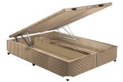Cama Box Baú Paropas Universal Tecido Rustico Fort Clean - Cama Box Solteiro - 0,88x1,88x0,36 - Sem Colchão