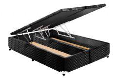 Cama Box Baú Paropas Universal Tecido Fort Black - Cama Box Solteiro - 0,88x1,88x0,36 - Sem Colchão