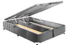 Cama Box Baú Paropas Universal Tecido Rústico Fort Gray - Cama Box Solteiro - 0,88x1,88x0,36 - Sem Colchão