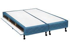 Cama Box Base Castor Closet Poli Tecido Azul - Colchão Castor