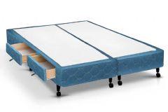 Cama Box Base Castor Poli c/ 2 Gavetas Tecido Azul - Colchão Castor