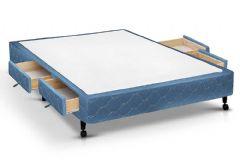 Cama Box Base Castor Poli c/ 4 Gavetas Tecido Azul - Colchão Castor