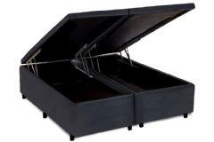 Cama Box Baú Universal CRC Nobuck Camurça Gray - Cama Box Solteiro - 0,88x1,88x0,35 - Sem Colchão